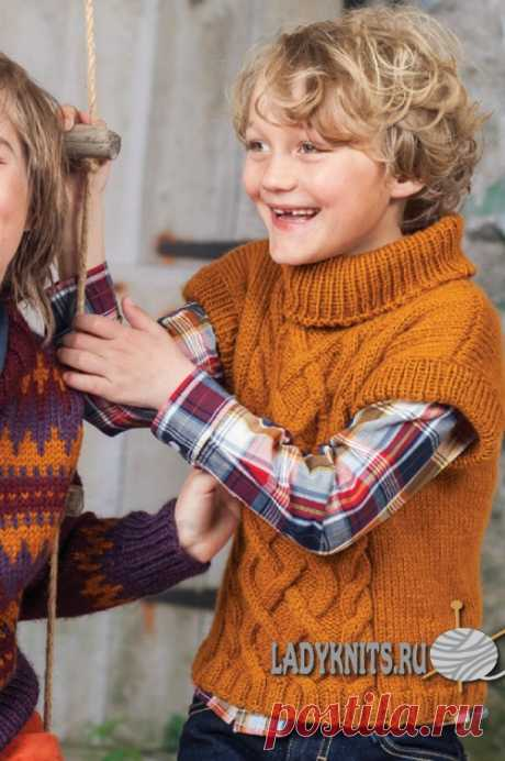 Knitted spokes a sleeveless jacket with arana and braids for the boy from 2 to 12 years