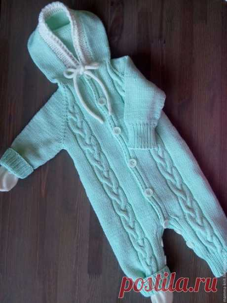 To buy Overalls for newborns - mint, overalls for the kid, overalls for the girl, overalls knitted, a set on an extract