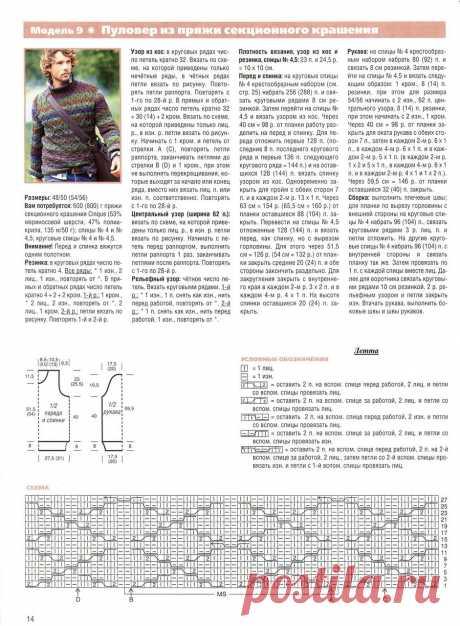 МК по вязанию спицами мужского пуловера секционного крашения крупной вязки с подробным описанием и схемой