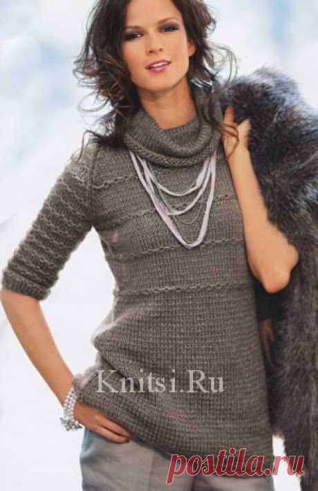 Длинный пуловер с короткими рукавами. Вязание для женщин / Пуловеры / Спицами