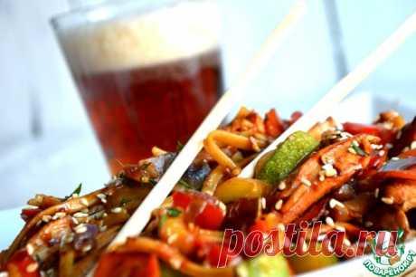 Удон с курицей и овощами Кулинарный рецепт