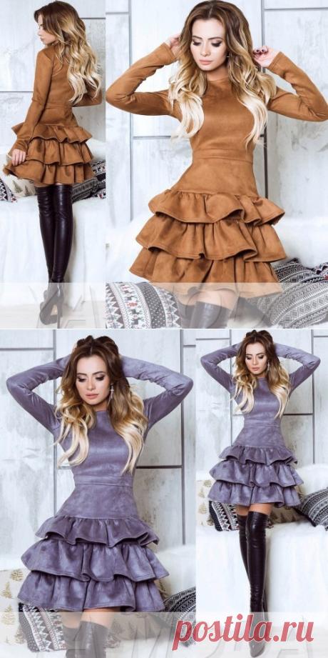 Замшевое платье с тремя воланчиками