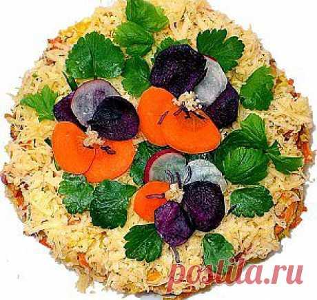 Рецепт. Салат «Анютины глазки» | Кулинарные рецепты с фотографиями