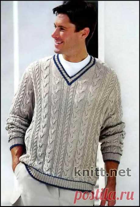 Пуловер цвета льна с V-образным вырезом