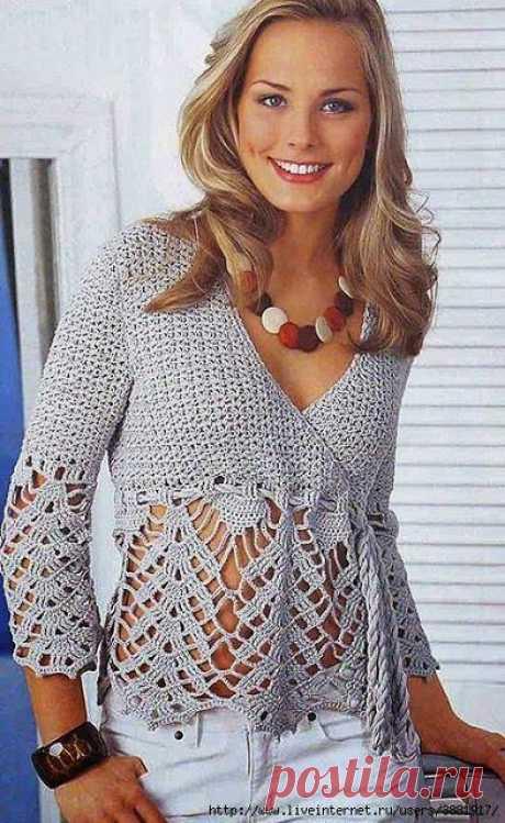 Irish crochet &: Элегантный пуловер с кружевом