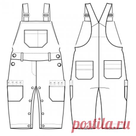 Patronaje industrial: patrones moldes ropa para marcas líderes Jardinero 6019 BEBES Enteritos