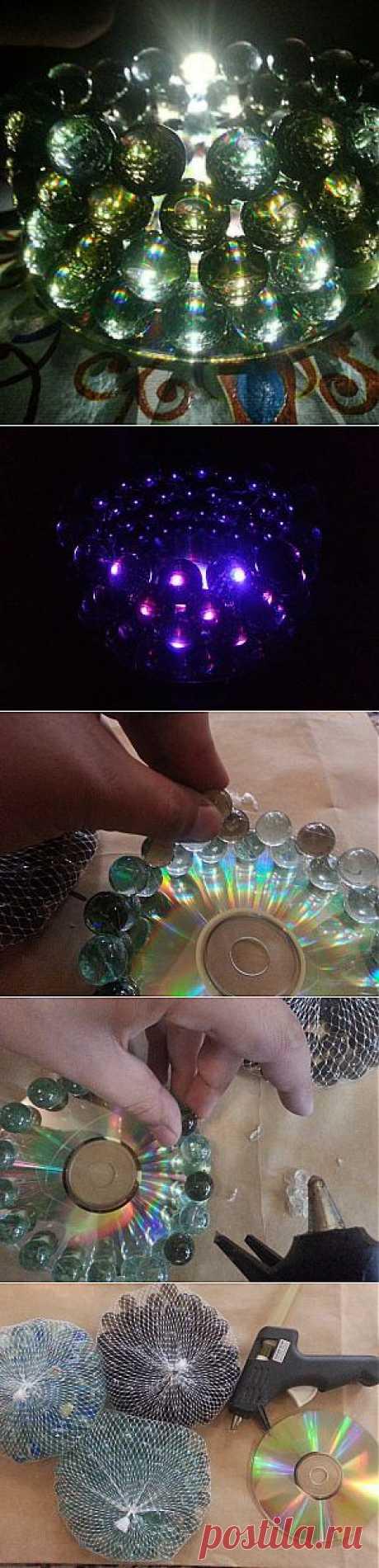Светильник из компакт-диска и стеклянных шариков | Ladies venue