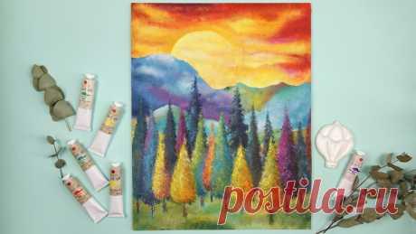 Рисуем картину губкой 😯 Живописный и яркий пейзаж акрилом! | Творческая студия TAIR | Яндекс Дзен