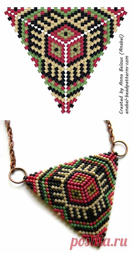 Схема бисерного треугольника - мозаичное плетение - free peyote triangle pattern | - Схемы для бисероплетения / Free bead patterns -