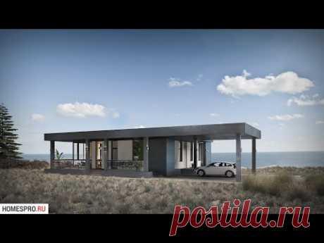 Проект одноэтажного дома с плоской крышей FLAT-001-BA