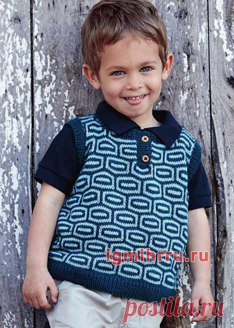 Для мальчика 1-4 лет. Жилет с геометрическим узором. Вязание спицами для мальчиков со схемами и описанием