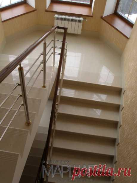 Лестницы, ограждения, перила из стекла, дерева, металла Маршаг – Нержавеющие ограждения лестницы из бетона