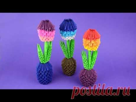 Как сделать цветок тюльпан в горшочке из бумаги в технике модульное оригами. Пошаговая сборка