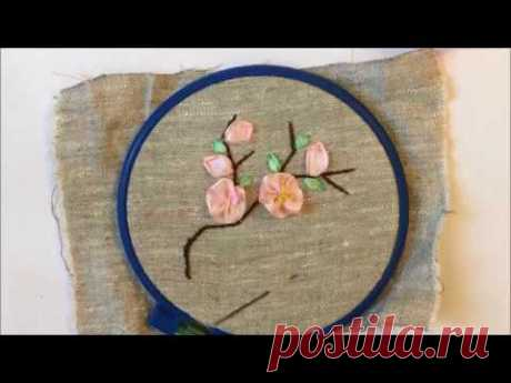 Oriental cherry the embroidered tapes \/ Sakura embroidered ribbons