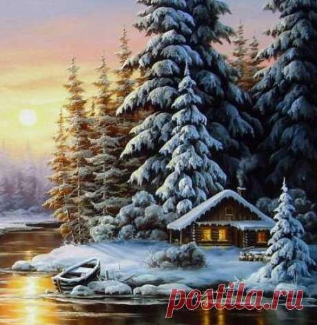 Схема вышивки «Зимний пейзаж( фрагмент)» - Вышивка крестом