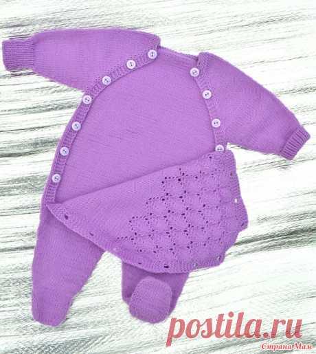 Комбинезон для новорожденного спицами. +описание стопы-носочка.