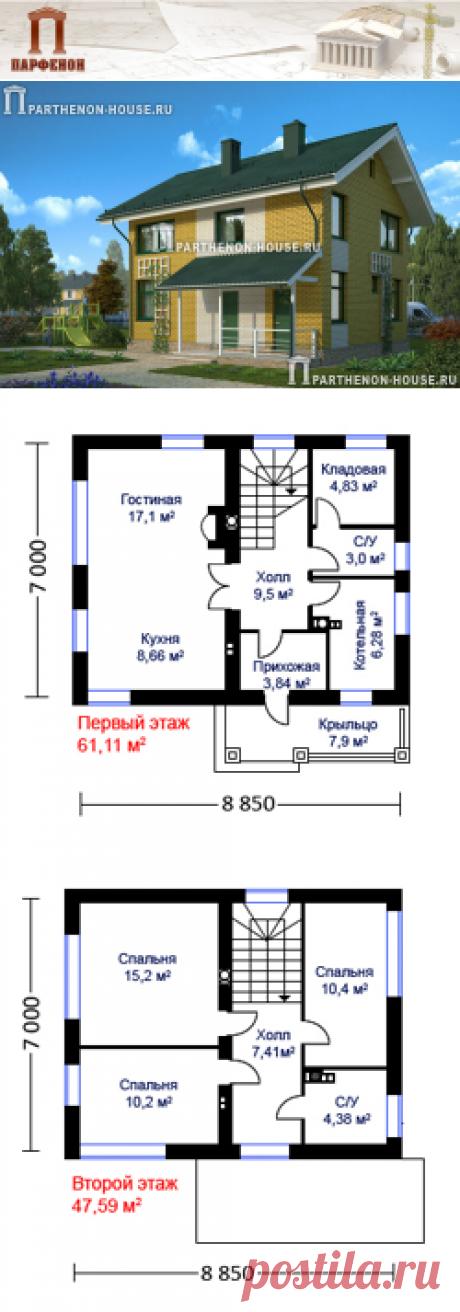 Проект небольшого двухэтажного дома из газобетона ЯК 100-8-2  Площадь застройки: 82,80 кв.м. Площадь общая помещений: 100,80 кв.м. Площадь жилая: 53,00 кв.м. Площадь крыльца: 7,90 кв.м. Строительный объем: 710,00 куб.м. Высота 1 этажа: 2,810 м. Высота 2 этажа: 2,565 м. Высота дома в коньке от уровня земли: 8,390 м.   Тех. помещение-котельная: да. Кладовая: да. Камин: да.   Технология и конструкция: Строительство дома из газобетона.