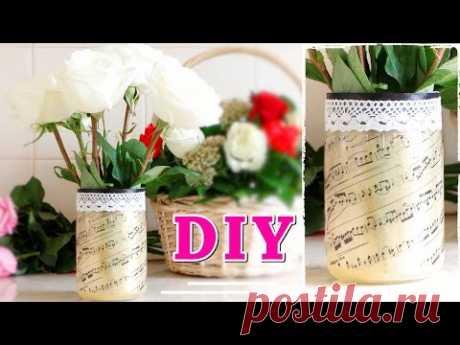 Как сделать ВАЗУ с ПРИНТОМ из стеклянной банки / VASE OF JAR #DIY NataliDoma :: VideoLike