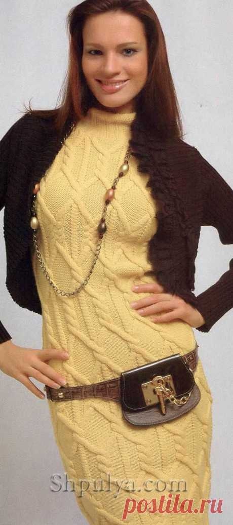 www.SHPULYA.com - Желтое платье с рукавом реглан спицами