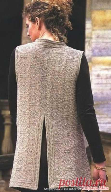 . Элегантный удлиненный жилет спицами