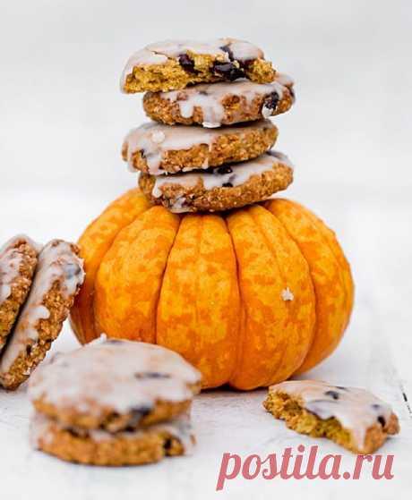 Овсяное печенье с тыквой и сушеной клюквой