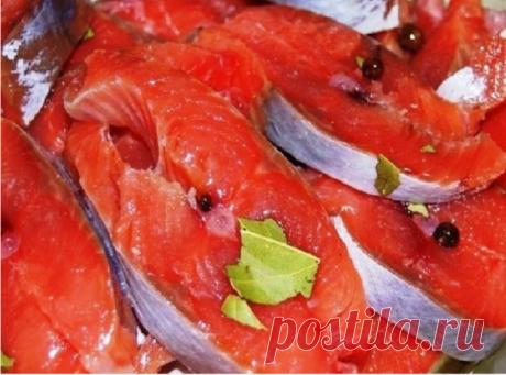 РЫБКА КРАСНАЯ СОЛЕНАЯ   Ингредиенты:  ● Рыба красная 1 кг. (семга, форель, кета, голец, горбуша). На Ваш выбор. ● Соль 2 ст. ложки. ● Сахар 1 ст. ложка. ● Перец душистый горошек по вкусу  Приготовление:  1. Рыбу разделываем на филе, удаляем кости и режем порционными кусочками. 2.В миске смешиваем соль и сахар. 3. Рыбку выкладываем слоями пересыпая солью и сахаром, на каждый слой выкладываем душистый перчик. 4. Убираем рыбу в холодильник на сутки. 5. Вкусная и полезная заку...