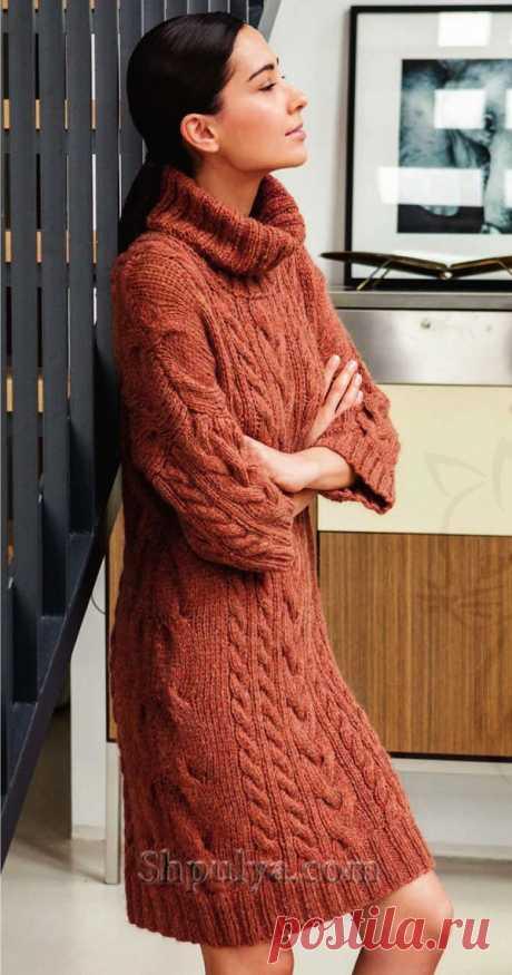 Платье с косами и высоким воротом спицами - SHPULYA.com