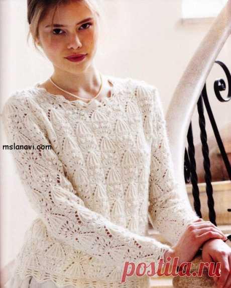 Белый ажурный пуловер спицами - Вяжем с Лана Ви Белый ажурный пуловер спицами, как мне показалось, очень нарядный 🙂 .Такая себе белая и нежная романтика к грядущему лету. Узор, конечно, замысловат, и чем-то переплетается вот с этим набором —Ажурные болеро и безрукавка спицами. Прекрасного всем настроения в такой обновке и ровных петелек!  Белый ажурный пуловер спицамииз журнала Let's Knit: Расход пряжи – 400 […]