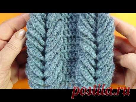 Вязание крючком - Шарфы и шали крючком - Узор для снуда - Объёмная коса крючком