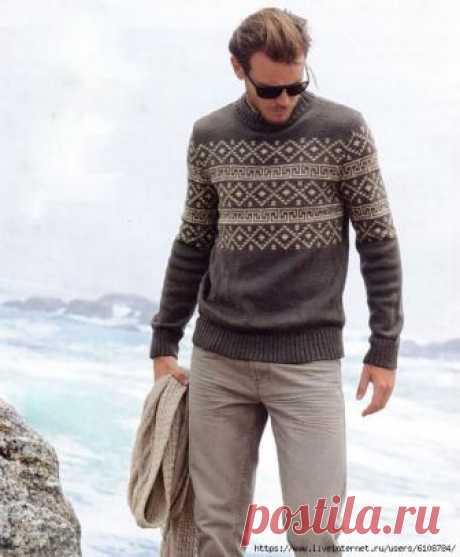 Мужской свитер спицами с орнаментом