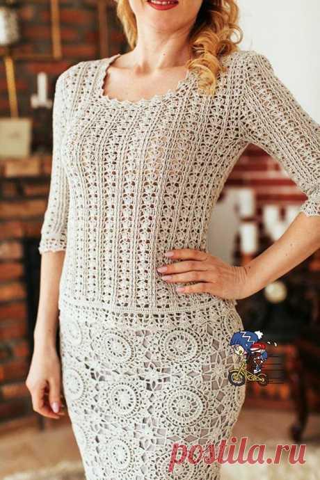 Вязаный крючком костюм - юбка и блуза. Схемы прилагаются