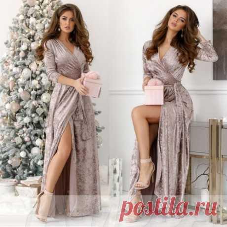 Длинное бархатное платье халат