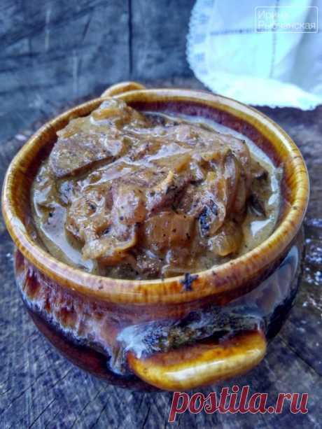 Очень вкусная и нежная печень по-строгановски