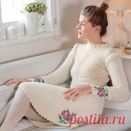 Платье с мотивом «Розы» (Вязание спицами) – Журнал Вдохновение Рукодельницы