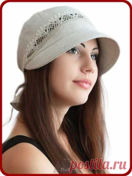 790р--Бейсболка Анжела - Женские шапки - Из хлопка и льна