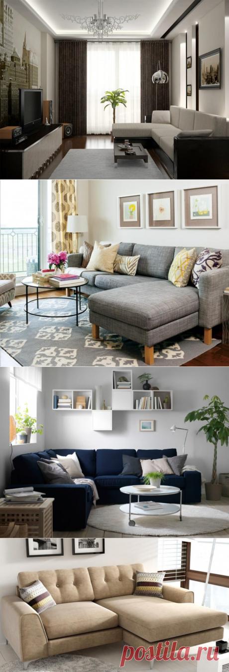 Угловые диваны в интерьере маленькой комнаты: подборка фото