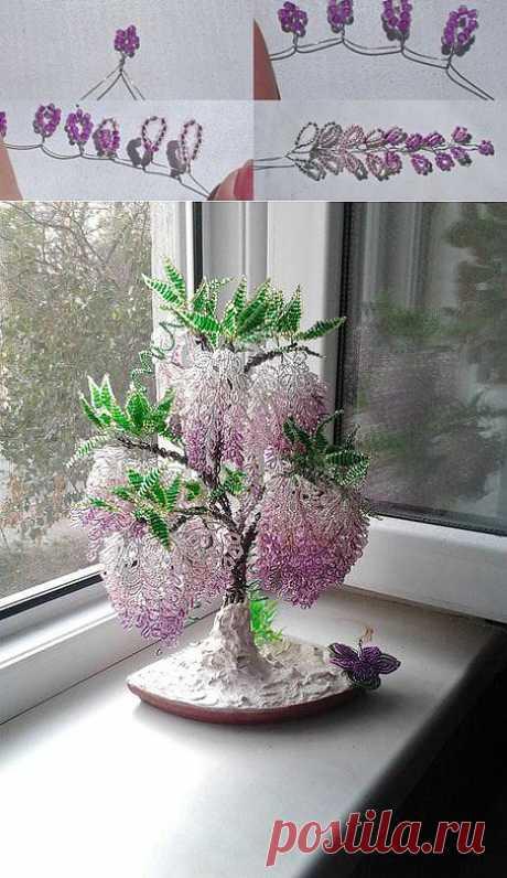 Глициния из бисера. Далее смотрим по ссылке https://strady.org.ua/post313225080 #деревья@spigelds