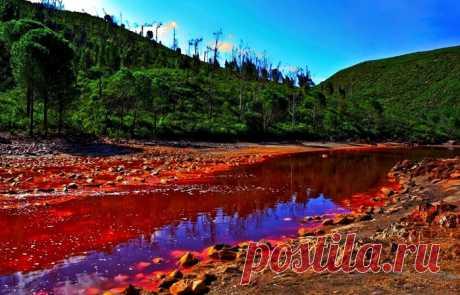 Красная река Рио Тинто в Испании