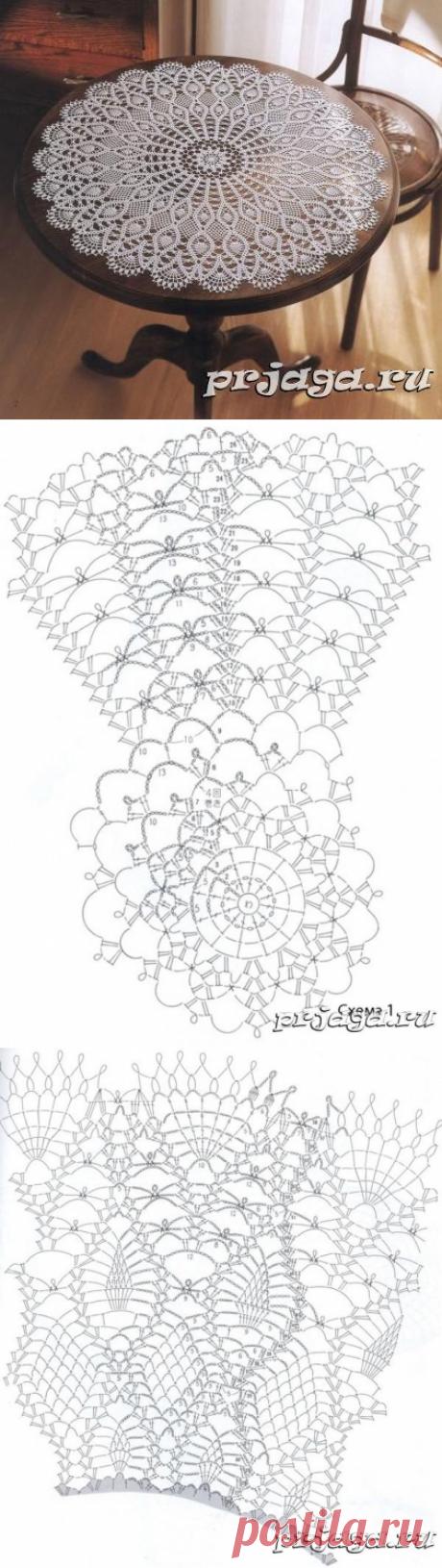Большая салфетка крючком схема