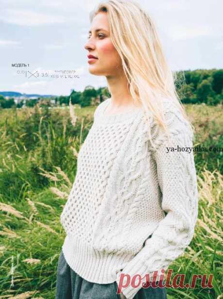 """Белый пуловер спицами . Вязаные женские свитера спицами с описанием Белый пуловер спицами узором из """"кос"""". Вязаные женские свитера спицами с описанием"""