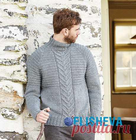 Свитер мужской с косами посередине | Вязание для мужчин спицами. Схемы вязания