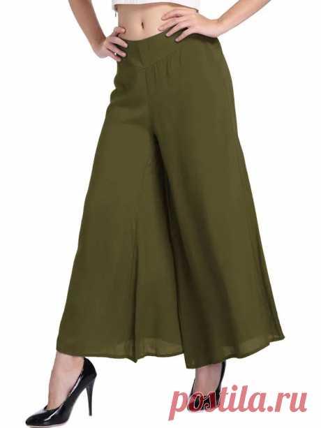 Casual Women Elastic Waist Pure Color Loose Wide Leg Pants - US$20.99