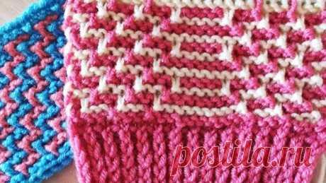 Ленивый жаккард Змейка для свитера и не только. Вязание спицами.