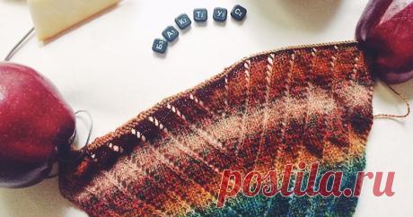 We knit a triangular scarf — baktus