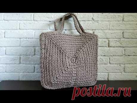 Сумка из трикотажной пряжи квадратная. Вязание крючком. Square bag of T Shirt yarn Crochet