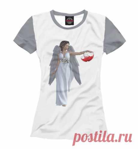 Женская футболка. Девушка ангел с сердечком
