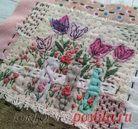 Картина с весенними цветами. Долгий процесс создания одного блока. Учусь шить | Блог ЕЛенкино творчество. | Яндекс Дзен