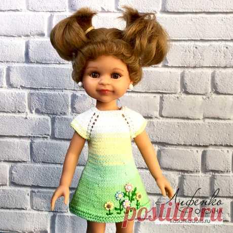Вяжем спицами простое платье для куклы (описание и видео урок).