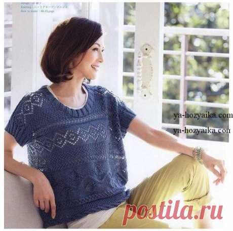 Блуза спицами поперечным вязанием. Вязание летних блузок спицами