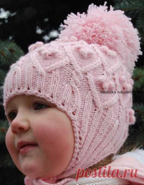 Розовая шапочка для девочки Розовая шапочка для девочки спицами. Зимняя детская шапка с ушками и шишечками спицами
